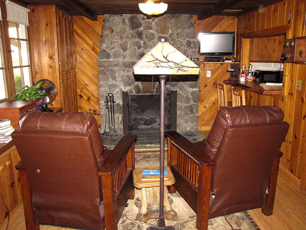 Rogue River cabin fireplace
