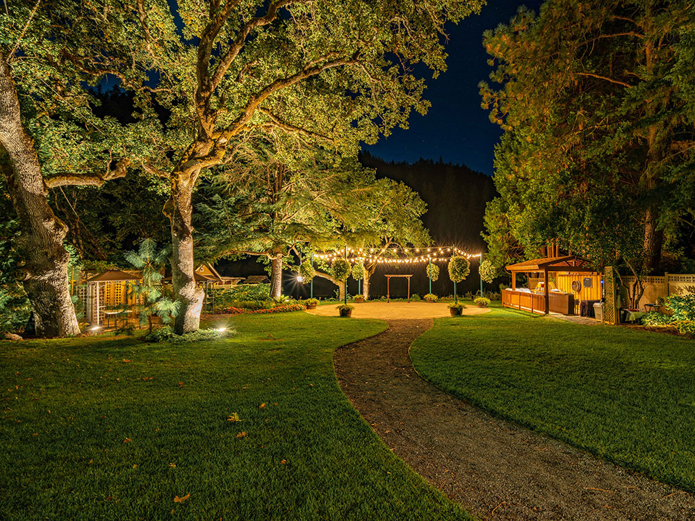 Wedding patio at night - Rogue River wedding